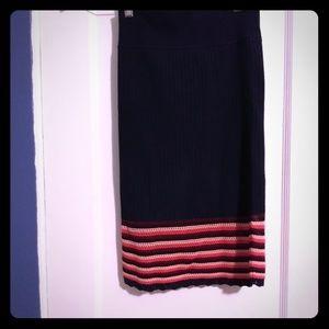 Express navy knit pencil skirt with crochet hem
